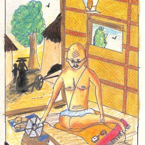 Fig. 7. Rajvi, <em>Gandhiji Spinning Wheel</em>, Standard VII, Blossoms S.T. High School, Mumbai, 2008<br />Image courtesy Mani Bhavan Gandhi Sangrahalaya and Gandhi Smarak Nidhi, Mumbai