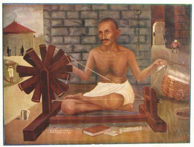 Fig. 7. D.B. Mahulikar, <em>Mahatma Gandhi in Yeroda Jail</em>, chromolithograph, publisher not known, 1933<br />Image courtesy Priya Paul Collection@TasveerGhar, New Delhi