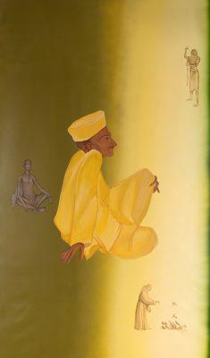 Fig. 7.  Gulammohammed Sheikh, <em>Gandhi and Gama</em> [detail], acrylic on canvas, 2014 <br />Image courtesy the artist