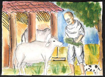 Fig. 7. Ronak, <em>Gandhiji's Love for Animals</em>, Standard IX, Udayachal High School, Mumbai, 2011<br />Image courtesy Mani Bhavan Gandhi Sangrahalaya <br />and Gandhi Smarak Nidhi, Mumbai