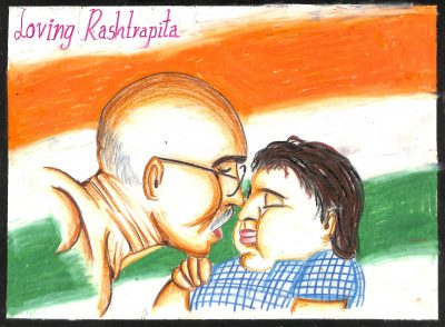 Fig. 7. Manthan, <em>Loving Rastrapita</em> [Loving Father of the Nation], Standard VII, I.E.S. Modern English School, Mumbai, 2012<br />Image courtesy Mani Bhavan Gandhi Sangrahalaya and Gandhi Smarak Nidhi, Mumbai
