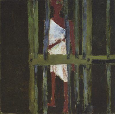 Fig. 8. Haku Shah, <em>Jail</em>, oil on canvas, 2014<br />Image courtesy the artist's family