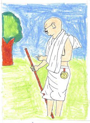 Fig. 8. Akshay, <em>Gandhiji's Pocket Watch</em>, Standard III, V.P.M.S. Primary School, Mumbai, 2016 <br />Image courtesy Mani Bhavan Gandhi Sangrahalaya <br />and Gandhi Smarak Nidhi, Mumbai