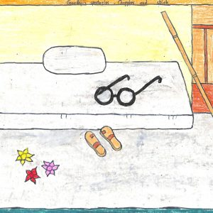 Fig. 8. Keerti, <em>Gandhiji's Spectacles, Chappals, and Stick</em>, Standard II, <br />A.E.S. Primary School, Mumbai, 2015<br />Image courtesy Mani Bhavan Gandhi Sangrahalaya <br />and Gandhi Smarak Nidhi, Mumbai