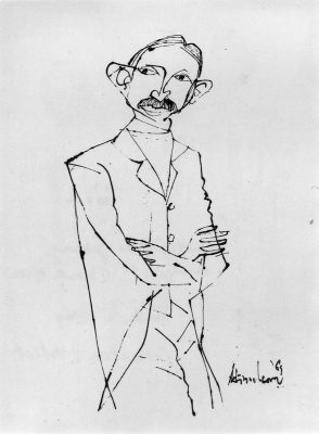 Fig. 8. K.M. Adimoolam, <em>Gandhi as a Young Lawyer (in South Africa)</em>, pen and black ink, 1969<br />From  <em>Between the Lines: Drawings by K.M. Adimoolam between 1962 and 1996</em>. Chennai: Value Arts Foundation, 1997
