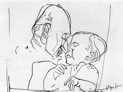Fig. 8. K.M. Adimoolam, <em>Gandhi with a Child</em>, pen and black ink, 1969<br />From  <em>Between the Lines: Drawings by K.M. Adimoolam between 1962 and 1996</em>. Chennai: Value Arts Foundation, 1997