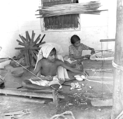 Fig. 9. Children spinning, Sabarmati Ashram, Ahmedabad, <br />Photograph by Pranlal Patel, c. 1940<br />Image courtesy the photographer's family