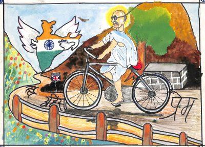 Fig. 9. Prajwal, Untitled, Standard V, Thakur Vidya Mandir High School, Mumbai, 2011<br />Image courtesy Mani Bhavan Gandhi Sangrahalaya and Gandhi Smarak Nidhi, Mumbai