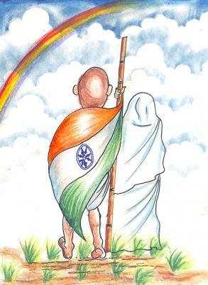 Fig 1. Atharva, <em>Gandhiji in My Imagination</em>, Standard V, Modern English School, Mumbai, 2012<br />Image courtesy Mani Bhavan Gandhi Sangrahalaya and Gandhi Smarak Nidhi, Mumbai