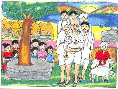 Fig. 1. Peenal, Untitled, Standard VI, I.E.S. Modern English School, Mumbai, 2011<br />Image courtesy Mani Bhavan Gandhi Sangrahalaya and Gandhi Smarak Nidhi, Mumbai
