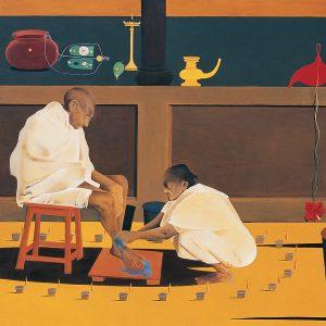 Fig. 10. Surendran Nair, <em>Family Values, Corollary Mythologies</em>,<br />oil on canvas, 1998<br />Image courtesy the artist