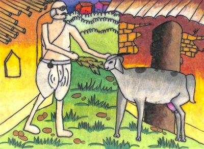 Fig. 10. Divy, <em>Gandhiji with Goat in Sabarmati Ashram</em>, Standard III, Chatrabhuj Narsee Memorial School, Mumbai, 2007<br />Image courtesy Mani Bhavan Gandhi Sangrahalaya and Gandhi Smarak Nidhi, Mumbai