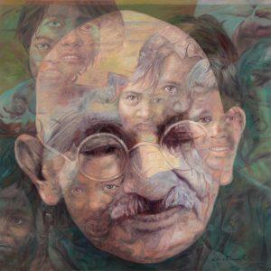 Fig. 10. Gopal Swami Khetanchi, <em>Children Are the Father of the Nation, Not Me</em>, oil on canvas, 2010<br />Image courtesy the artist