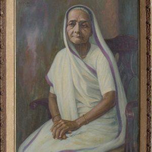 Fig. 11. Shanti Shah, Portrait of Kasturba, oil on canvas, c. 1950s<br />Image courtesy Anil Relia, Ahmedabad
