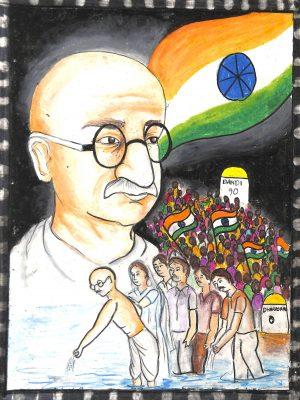 Fig. 11. Shrusti, <em>Salt Satyagraha</em>, Standard IX, St Paul's Convent, Mumbai, 2013<br />Image courtesy Mani Bhavan Gandhi Sangrahalaya <br />and Gandhi Smarak Nidhi, Mumbai