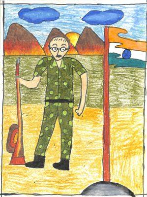 Fig. 11. Nishi, <em>Gandhiji in Military Uniform</em>, Standard III, Children's Academy, Mumbai, 2014 <br />Image courtesy Mani Bhavan Gandhi Sangrahalaya <br />and Gandhi Smarak Nidhi, Mumbai