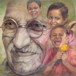 Fig. 11. Gopal Swami Khetanchi, <em>Happy Children, Happy Gandhi</em>, oil on canvas, 2010<br />Image courtesy the artist