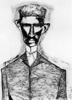 Fig. 12. K.M. Adimoolam, <em>Young Gandhi in South Africa</em>, pen and black ink, 1969 <br />From <em>Between the Lines: Drawings by K.M. Adimoolam between 1962 and 1996</em>. Chennai: Value Arts Foundation, 1997