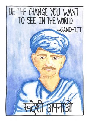Fig. 14. Saloni, <em>Gandhiji in Kathiawadi Dress</em>, Standard VIII, Children's Academy, Mumbai, 2016 <br />Image courtesy Mani Bhavan Gandhi Sangrahalaya and Gandhi Smarak Nidhi, Mumbai