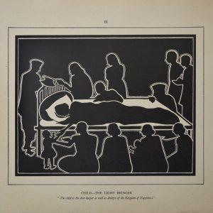 Fig. 14. Dhiren Gandhi, <em>Child—The Light Bringer</em>, print from woodcut, 1943  <br />Image courtesy Anil Relia, Ahmedabad