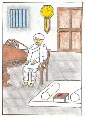 Fig. 15. Priya, <em>Gandhiji in Kathyawadi Dress</em>, Standard VIII, Shri B.A.K. Swadhyay Bhawan, Mumbai, 2005 <br />Image courtesy Mani Bhavan Gandhi Sangrahalaya and Gandhi Smarak Nidhi, Mumbai