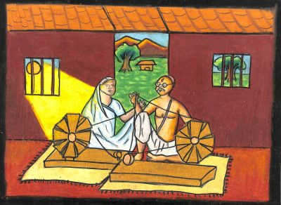 Fig. 16. Pooja, <em>Gandhiji and Kasturba</em>, Standard VII, I. E. S.'s Modern English School, Mumbai, 2011<br />Image courtesy Mani Bhavan Gandhi Sangrahalaya and Gandhi Smarak Nidhi, Mumbai