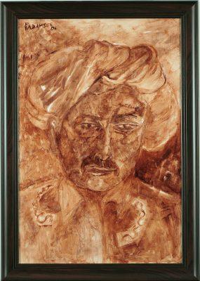 Fig.16. Akbar Padamsee, <em>Portrait of Young Gandhi</em>, oil on canvas, 2006 <br />Image courtesy Bhanu Padamsee, Mumbai
