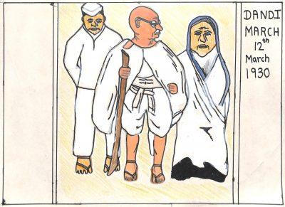 Fig. 17. Sahil, <em>Dandi March</em>, Standard V, Udayachal High School, Mumbai, 2007<br />Image courtesy Mani Bhavan Gandhi Sangrahalaya and Gandhi Smarak Nidhi, Mumbai