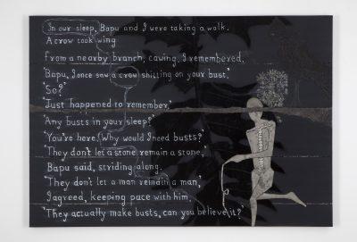 Fig. 17. Atul Dodiya, <em>A Crow</em> (Bako series), oil, acrylic, watercolour, oil bar, and marble dust on canvas, 2011<br />Image courtesy the artist