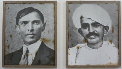Fig. 17. Riyas Komu, <em>Two Fathers from Gujarat</em>, mixed media on linen, 2008 <br />Image courtesy the artist