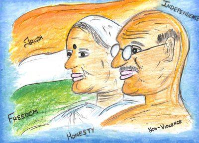 Fig. 18. Dishita, <em>Gandhiji with Kasturba</em>, Standard VI, Udayachal High School, Mumbai, 2016<br />Image courtesy Mani Bhavan Gandhi Sangrahalaya and Gandhi Smarak Nidhi, Mumbai