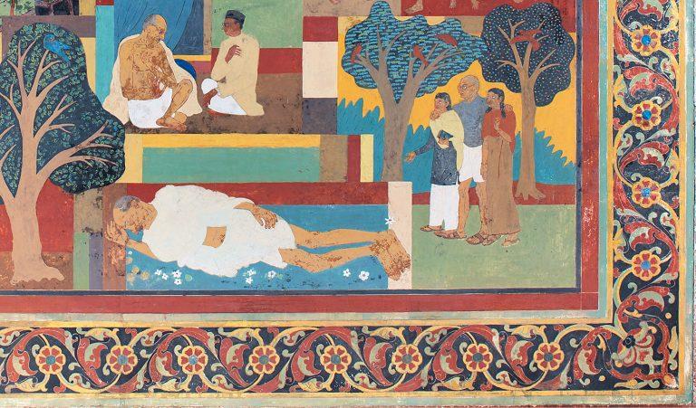 Fig. 2. Kripal Singh Shekhawat, <em>Life of Gandhi </em>[detail], fresco in Birla House/Gandhi Smriti, New Delhi, 1955–58<br />Image courtesy DAG, New Delhi