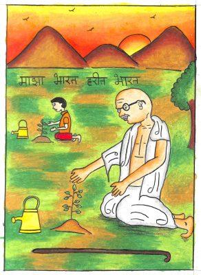 Fig. 2. Netra, <em>Gandhiji Doing Plantation</em>, Standard VII, Kenia & Anchor School, Mumbai, 2017<br />Image courtesy Mani Bhavan Gandhi Sangrahalaya and Gandhi Smarak Nidhi, Mumbai