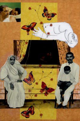 Fig. 2. Atul Dodiya, <em>Bloodline</em>, enamel paint and varnish on laminate, 2004–06<br />Image courtesy the artist
