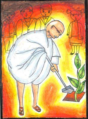 Fig. 3. Pavitra, <em>Gandhiji Planting a Sapling</em>, Standard V, J.B. Vachha High School, Mumbai, 2017<br />Image courtesy Mani Bhavan Gandhi Sangrahalaya and Gandhi Smarak Nidhi, Mumbai