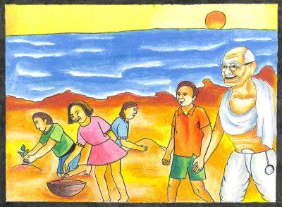Fig. 4. Atharv, <em>Gandhiji on the Seashore</em>, Standard VIII, Dr Antonio Da Silva High School, Mumbai, 2015<br />Image courtesy Mani Bhavan Gandhi Sangrahalaya and Gandhi Smarak Nidhi, Mumbai