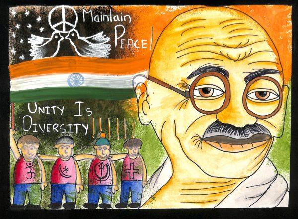 Fig. 4. Hitesh, <em>Gandhiji and the World for Him</em>, Standard VIII, Don Bosco Matunga, Mumbai, 2012<br />Image courtesy Mani Bhavan Gandhi Sangrahalaya and Gandhi Smarak Nidhi, Mumbai