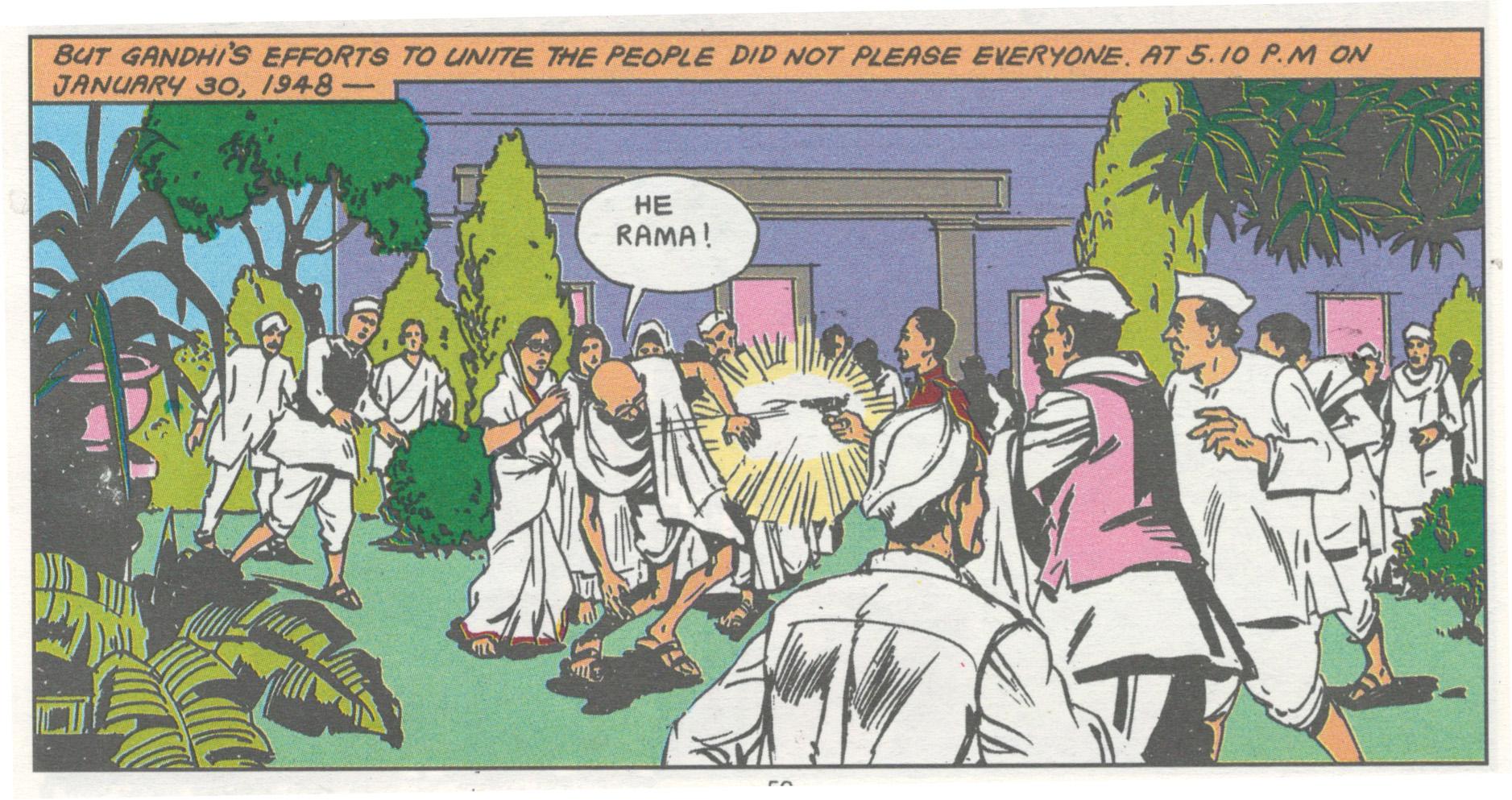 Fig. 5. Sourav Roy, comic book illustration, c. 2008<br />From  <em>Mahatma Gandhi: Father of the Nation</em>. Mumbai: Amar Chitra Katha, 2008