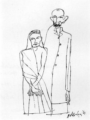 Fig. 6.  K.M. Adimoolam, <em>Gandhi with Kasturba (In South Africa)</em>, pen and black ink, 1969<br />From  <em>Between the Lines: Drawings by K.M. Adimoolam between 1962 and 1996</em>. Chennai: Value Arts Foundation, 1997