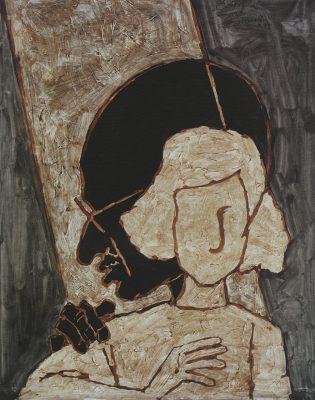Fig. 6. M.F. Husain, Untitled, oil on canvas, 1985<br />From Bikram K. Bikram, <em>Maqbool Fida Husain</em>. New Delhi: Rahul & Art, 2008
