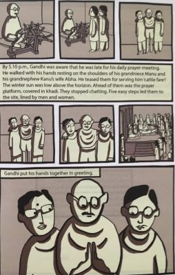 Fig. 7. Pooja Pottenkulam, illustration in graphic novel, c. 2015<br />From Aditi De, <em>Mohandas Karamchand Gandhi</em>. Gurgaon: Scholastic India, 2015