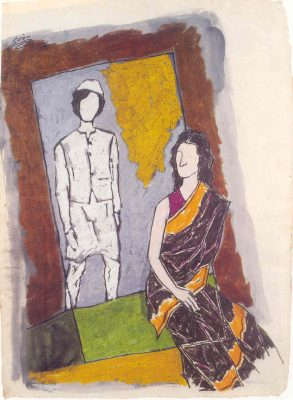 Fig. 7. M.F. Husain, <em>Priyadarshini</em>, mixed media on paper, 1985<br />From Gayatri Sinha, <em>India's Indira: Works by M.F. Husain</em>. New Delhi:Rajiv Gandhi Foundation, 2002