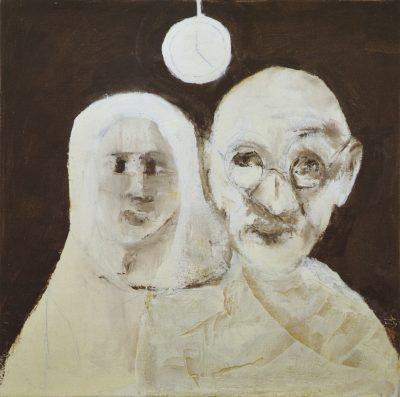 Fig. 8. Haku Shah, <em>With Kasturba</em>, oil on canvas, 2014<br />Image courtesy the artist's family