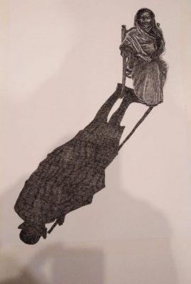 Fig. 9. Debanjan Roy, <em>Shadow</em>, pen and ink on paper, 2019<br />Image courtesy the artist