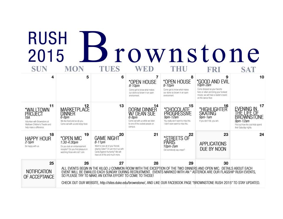 Brownstone Rush 2015 Calendar