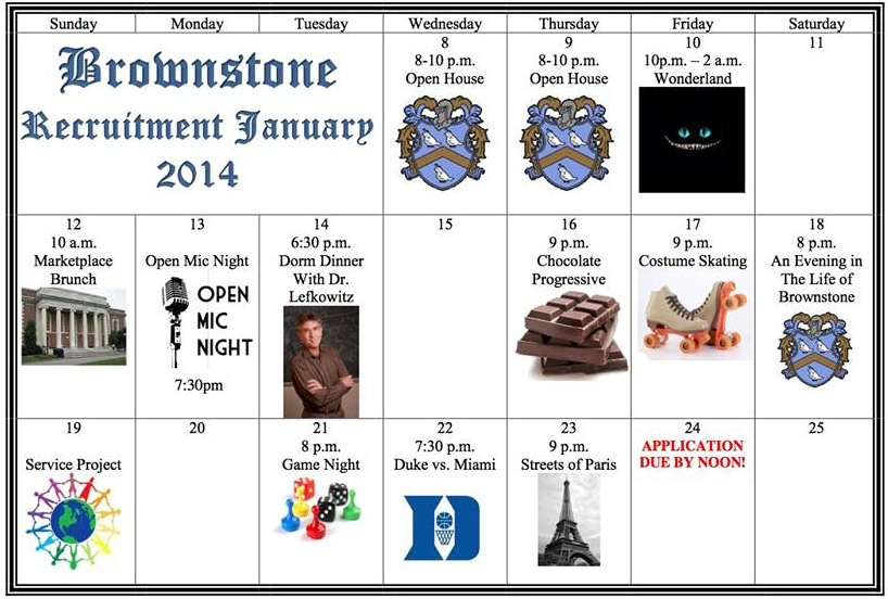 Brownstone Rush Calendar 2014
