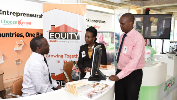 Equity Bank Kenya staff attends to guests at their booth at the Global Entrepreneurship Summit (GES) 2015 held in Nairobi, Kenya on July 25-26. Photo from: Global Entrepreneurship Summit