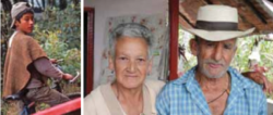 Photos of a young boy and an old couple