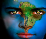 A child's face with Africa painted on it