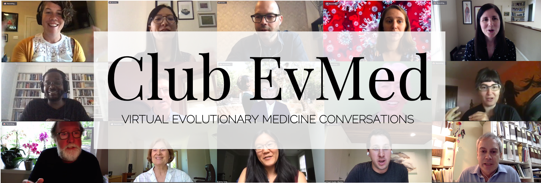 Club EvMed logo over a collage of people in Zoom meetings
